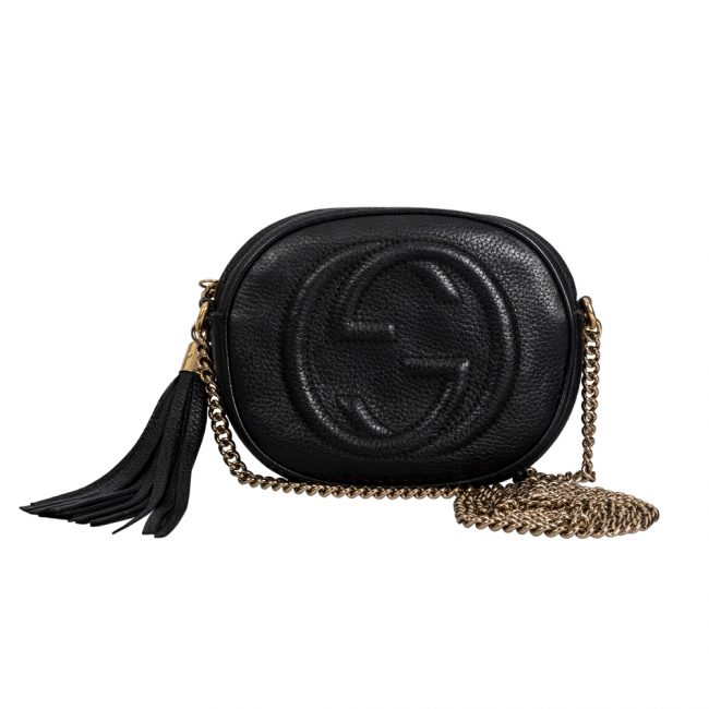 Gucci Black Leather Mini Soho Disco Chain Shoulder Bag