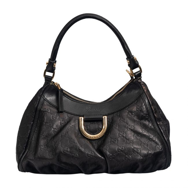 Gucci Metallic Black Leather D Ring Hobo
