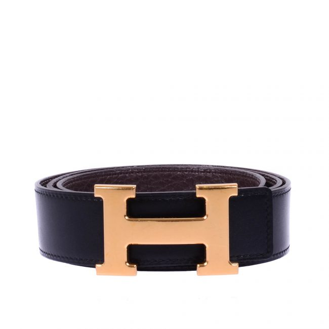 Hermes Black Brown Reversible Calf Leather Constance Buckle Belt