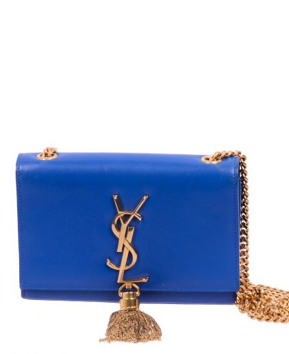 Saint Laurent Blue Leather Kate Tassel Crossbody Handbag