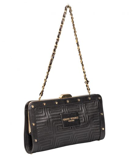 Versace Black Leather Flap Shoulder Handbag