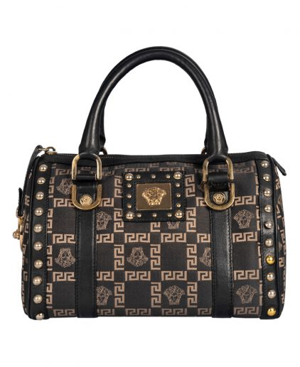 Versace Black Signature Fabric Studded Snap Out Of It Satchel
