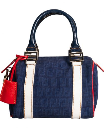 Fendi Blue Fabric White Leather Mini Boston
