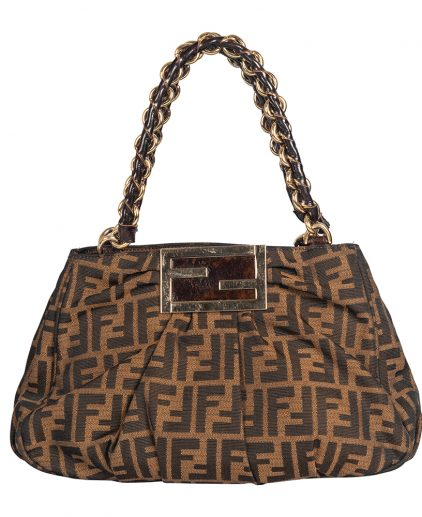 Fendi Tobacco Zucca Canvas Small Mia Shoulder Bag