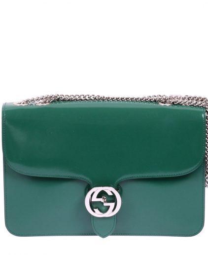 Gucci Green Patent Leather GG Shoulder Handbag