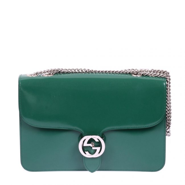 Gucci Green Patent Leather GG Shoulder Handbag