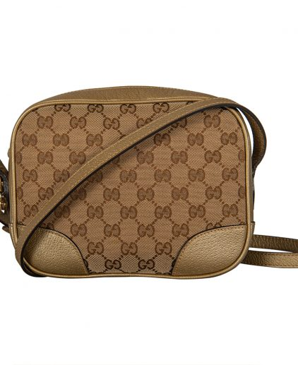 Gucci Beige Gold GG Canvas Leather Crossbody Bag