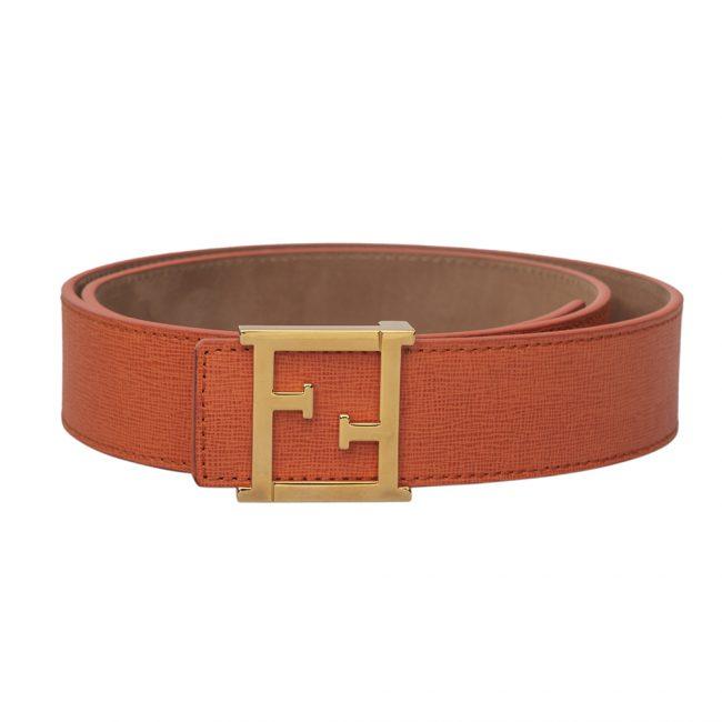 Fendi Orange Saffiano Leather FF Logo Buckle Belt Size 34 Inch