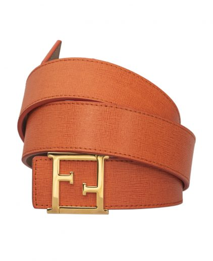 Fendi Orange Saffiano Leather FF Logo Buckle Belt Size 34 Inch