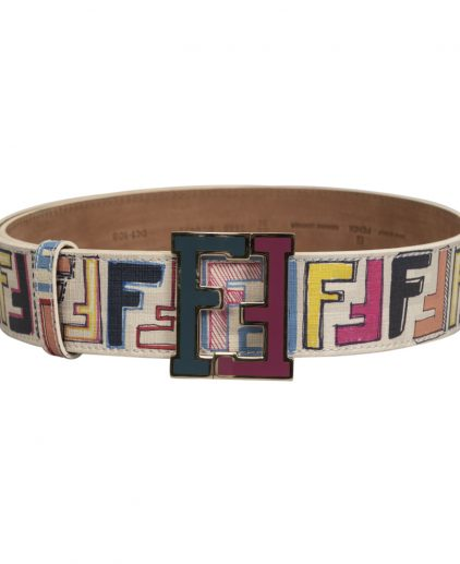 Fendi White Multicolour Leather FF Buckle Belt Size 34 Inch