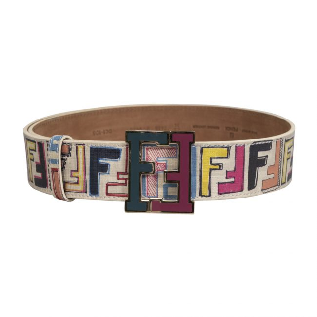Fendi White Multicolour Leather FF Buckle Belt Size 34 Inch
