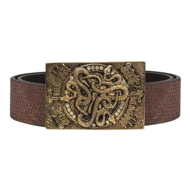 Just Cavalli Brown Leather Serpent Buckle Belt Size 34 Inch