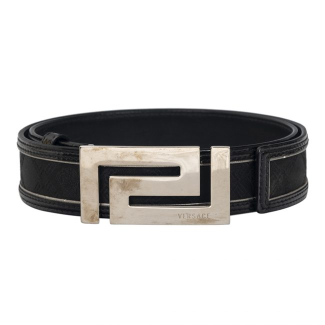 Versace Black Leather Canvas Silver Tone Buckle Belt Size 34 Inch