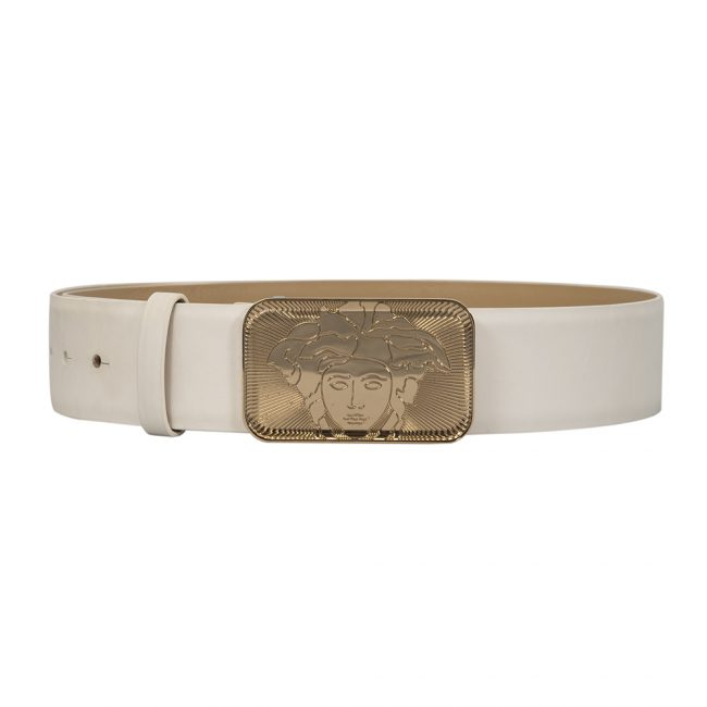 Versace White Leather Medusa Buckle Belt Size 34 Inch