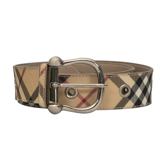 Burberry Beige Nova Check Canvas Belt Size 40 Inch
