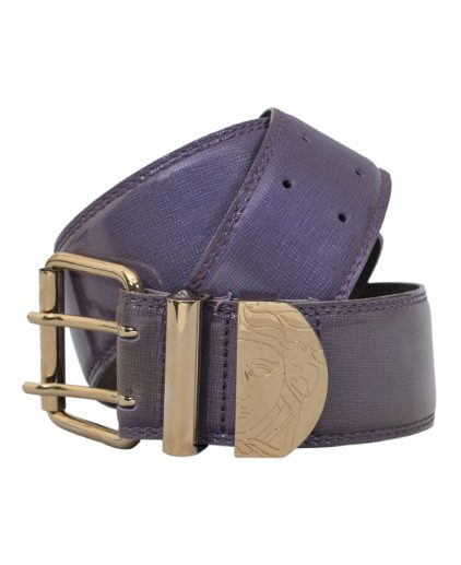 Versace Purple Leather Gold Tone Buckle Belt Size 34 Inch