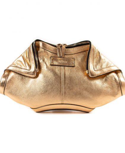 Alexander McQueen Gold Metallic Leather Medium De Manta Clutch