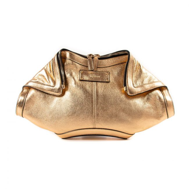 Alexander McQueen Gold Metallic Leather Medium De Manta Clutch