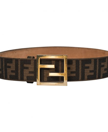 Fendi Brown Zucca Canvas Unisex FF Buckle Belt 100CM