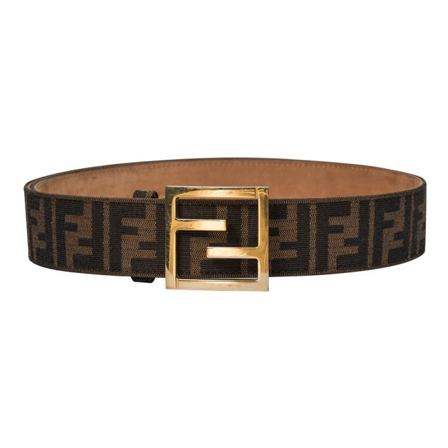 Fendi Brown Zucca Canvas Unisex FF Buckle Belt 100CM