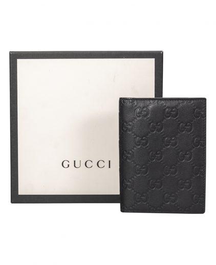 Gucci Black Guccissima Leather Travel Wallet