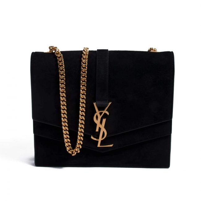 Saint Laurent Paris Black Suede Medium Sulpice Handbag