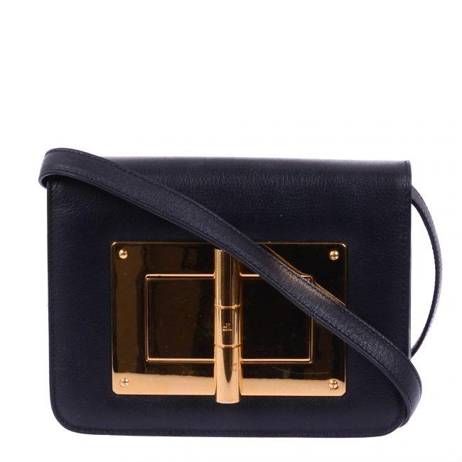 Tom Ford Black Leather Small Natalia Crossbody Bag