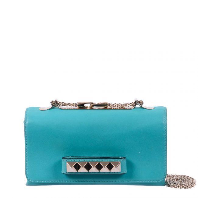 Valentino Blue Rockstud Va Va Voom Clutch Bag