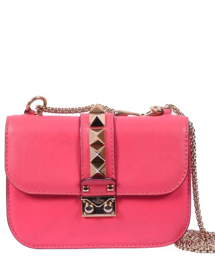 Valentino Pink Rockstud Mini Glam Lock Shoulder Bag