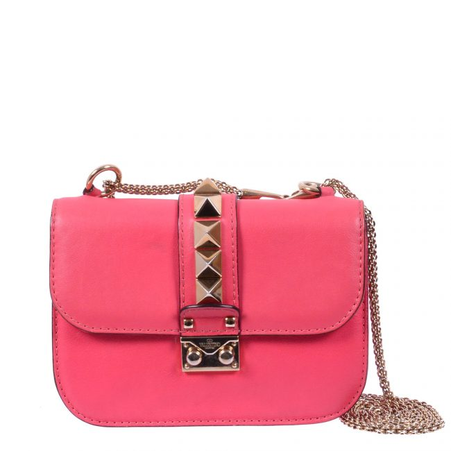 Valentino Pink Rockstud Mini Glam Lock Shoulder Bag