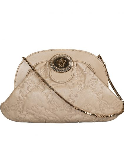 Versace Cream White Leather Frame Clutch