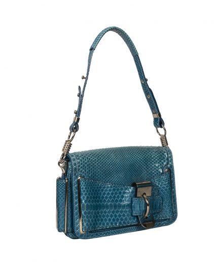 Versace Exotic Snake Skin Leather Shoulder Bag