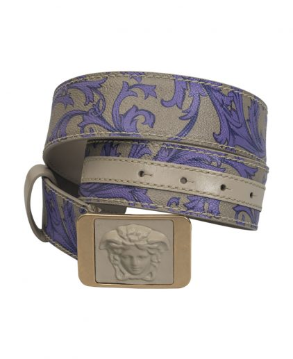 Versace Grey Purple Leather Medusa Buckle Belt Size 34 Inch