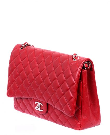 Chanel Red Quilted Lambskin Leather Maxi Classic Double Flap Handbag