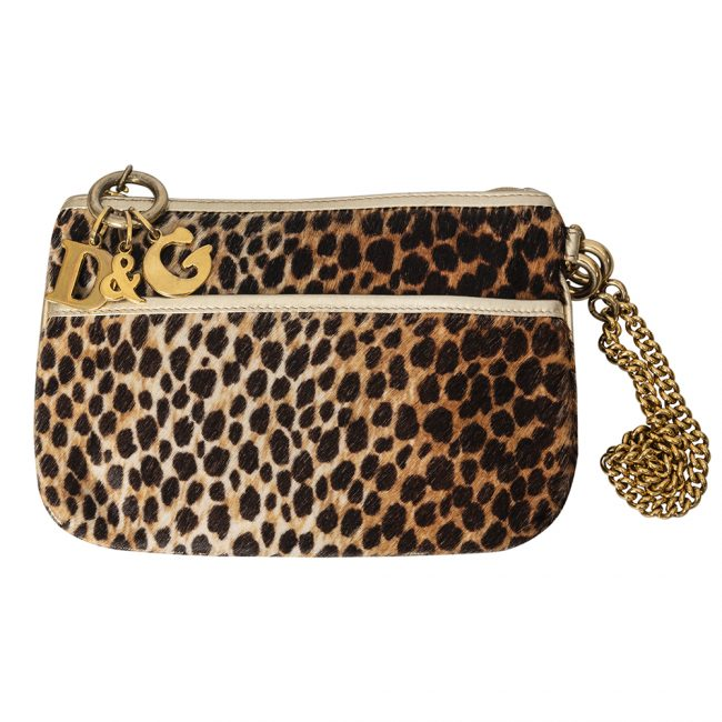 Dolce and Gabbana Leopard Print Pony Hair Clutch