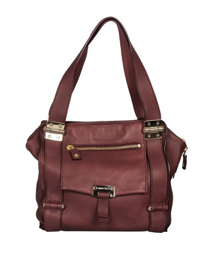 Jimmy Choo Maroon Lambskin Leather Parker Shopper Tote