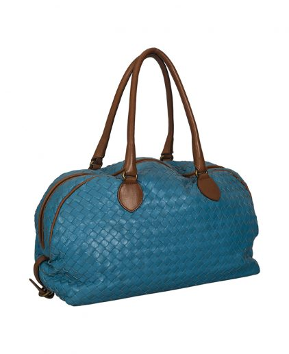 Bottega Veneta Blue Intrecciato Leather Tote Handbag