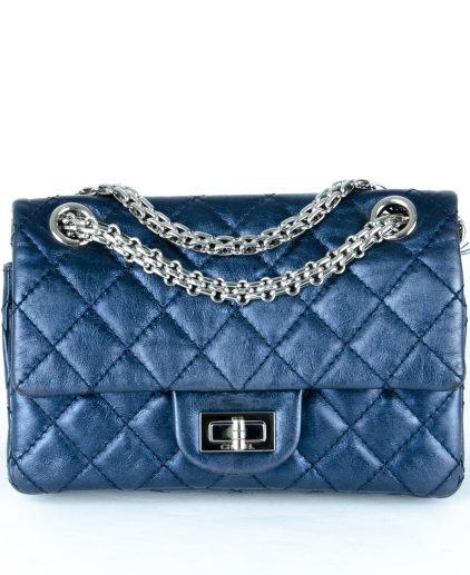 Chanel Metallic Navy Blue Quilted Leather Reissue 2.55 Classic 224 Flap Bag