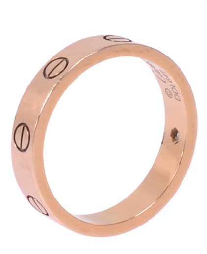 Cartier Love Diamond 18k Rose Gold Band Ring Size 53