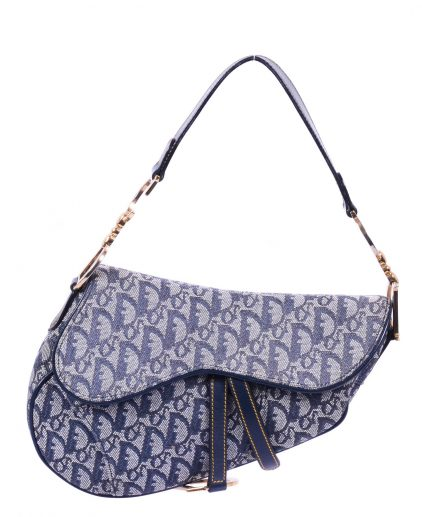 Dior Blue Canvas Leather Saddle Handbag