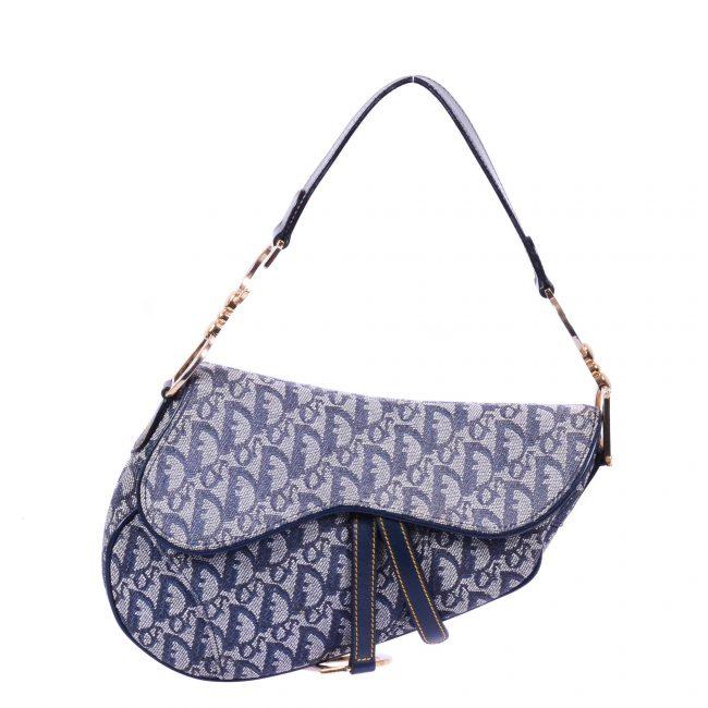 Dior Blue Canvas Leather Saddle Handbag