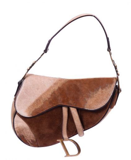 Dior Brown Pony Hair Embossed Suede Saddle Handbag