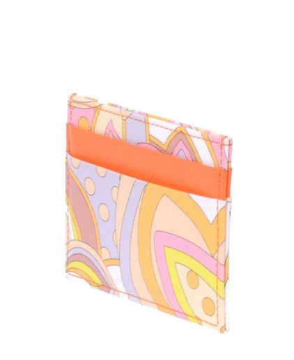 Emilio Pucci Orange Multicolour Leather Card Holder