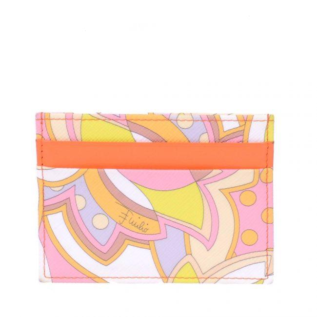 Emilio Pucci Orange Multicolour Leather Card Holder