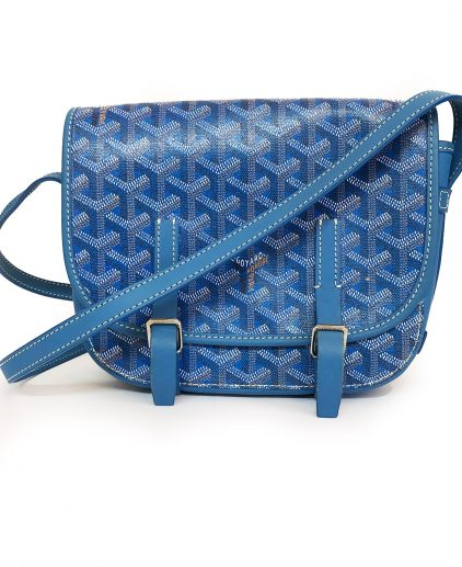 Goyard Blue Chevron Print Coated Canvas Belvedere Mini Saddle Bag
