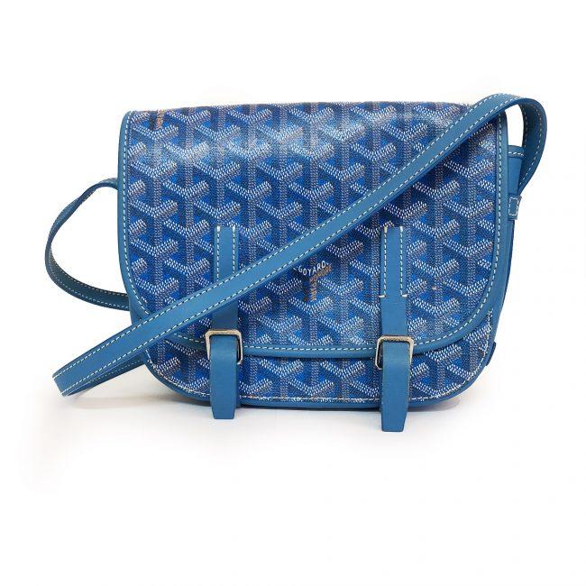 Goyard Blue Chevron Print Coated Canvas Belvedere Mini Saddle Bag