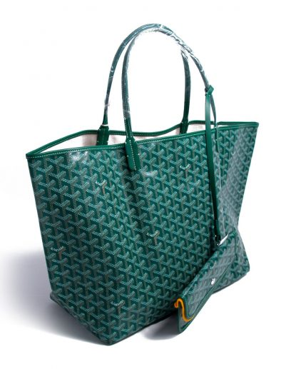 Goyard Green White Coated Canvas St Louis GM Tote
