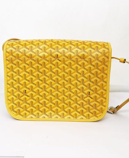 Goyard Yellow Chevron Print Coated Canvas Belvedere MM Saddle Bag