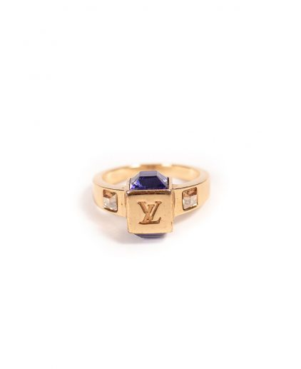 Louis Vuitton Gold Tone Purple White Stone Gamble Crystal Ring
