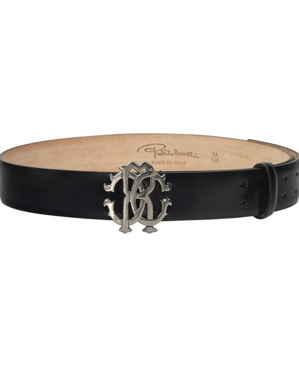 Roberto Cavalli Black Patent Leather Belt 36 Inch